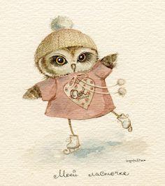 skating owl by Inga Palster
