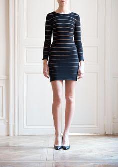 Balmain-Black Dress with Sheer Stripe Panels
