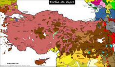 Turkey & Cyprus / Linguistic map this website is beautiful. detailed linguistic maps of literally EVERY COUNTRY. if only it were available in print.
