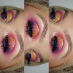 This sunset halo eye inspired eyeshadow look is amazing! It would be so much fun to play around with and try out!