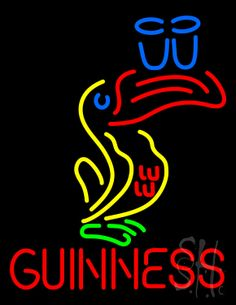 Great Looking Multicolored Guinness Beer Neon Sign 31 Tall x 24 Wide x 3 Deep, is 100% Handcrafted with Real Glass Tube Neon Sign. !!! Made in USA !!!  Colors on the sign are Blue, Red, Yellow and Green. Great Looking Multicolored Guinness Beer Neon Sign is high impact, eye catching, real glass tube neon sign. This characteristic glow can attract customers like nothing else, virtually burning your identity into the minds of potential and future customers.