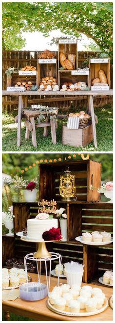 Rustic country wooden crate wedding food bar ideas / http://www.deerpearlflowers.com/rustic-woodsy-wedding-trend-2018-wooden-crates/ #rusticweddings #countryweddings #weddings #dpf #deerpearlflowers