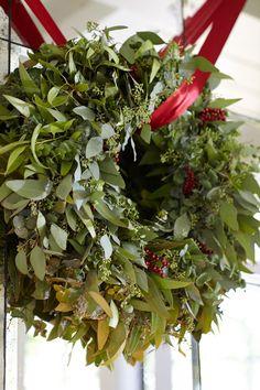 I love fresh wreaths