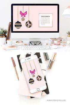 Free December 2018 Wallpaper Calendars - Posh Pixels Co Xmas Wallpaper, Macbook Wallpaper, Wallpaper Quotes, Macbook Desktop, Designer Wallpaper, Wallpaper Designs, Tumblr Photography, Summer Fun, Calendar