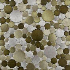 Mosaico de aluminio en tonos verdes