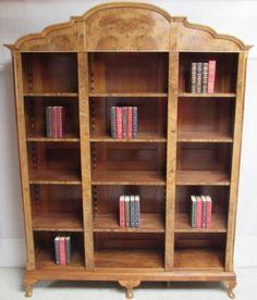 Superb Burr Walnut Open Library Bookcase