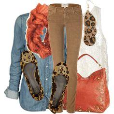 denim shirt, skinny cords, leopard & pop of color.