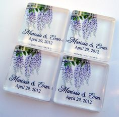 Wisteria Wedding Favor Magnets One Inch by StuckTogetherMagnets