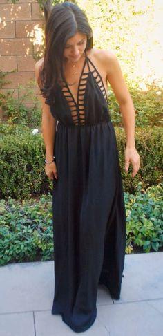 Dress: maxi long black black maxi sexy cage look elegant cute summer summer black maxi cutouts