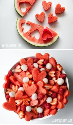 A cookie cutter is all you need to make this adorably festive & healthy Valentine's Day treat: Watermelon Heart Salad. Great for home or evena healthy classroom treat when candy a no-no. | A Designer Life
