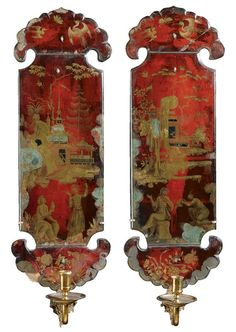 A rare pair of verre églomisé vermillion and gilt decorated wall appliques early 18th century decorated with chinoiserie scenes, with brass candle-arms 77cm. high; 2ft. 6¼in.