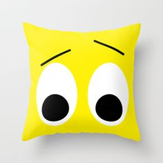 I is Surprised Throw Pillow by Alice Gosling - $20.00  #cushion #pillow #face #expression #eyes #funny #humor #yellow #surprise #shock