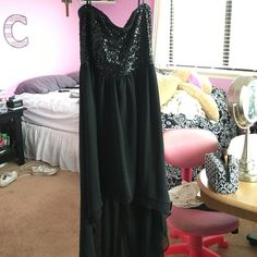 black sparkly high low black and sparkly on top high low strapless Dresses High Low