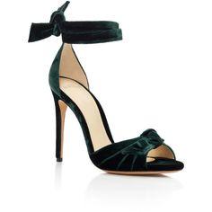 Alexandre Birman     New Clarita Sandals ($650) ❤ liked on Polyvore featuring shoes, sandals, heels, dark green, alexandre birman, alexandre birman shoes, alexandre birman sandals and dark green shoes