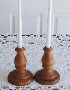 Rustic Wood Candle Holders, Hand Turned, Wooden Candlesticks