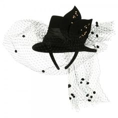 Black Mini Top Hat Style Fascinator ❤ liked on Polyvore featuring accessories