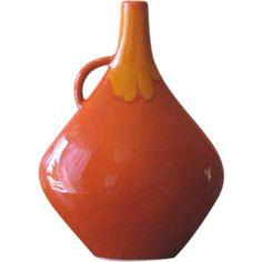 Mid Century Modern Orange Ceramic Drip Ware Vase from WhimsicalVintage on Ruby Lane