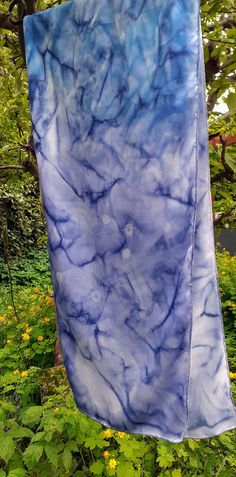 """Satin Silk Scarf, """"CE SOIR"""", Handpainted ORIGINAL, Art to wear, Blue scarf, Elegant, Mothers gift, unique luxury gift woman, ready to ship Mother Gifts, Mothers, Kind Of Blue, Silk Shawl, Scarf Hairstyles, Basic Colors, David, Blue Hair, Silk Satin"""