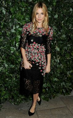 Sienna Miller in floral midi dress