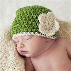 Green Newborn Beanie with Ivory