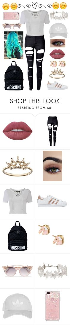 """""""Celebrate Our 10th Polyversary!"""" by ryleedamnsartorius on Polyvore featuring Lime Crime, WithChic, Pilot, adidas Originals, Moschino, Jimmy Choo, Miss Selfridge, Topshop, Rebecca Minkoff and polyversary"""