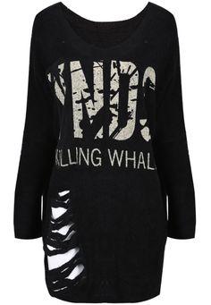 Black Long Sleeve Letters Print Ripped T-Shirt - Sheinside.com