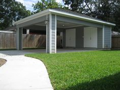 Remodel Houston Garage Carport Addition - ReCraft Homes - ReCraft Homes Residential Remodel, House Front, Remodel, House Exterior, Garage Doors, Carport Designs, Garage, Carport Addition