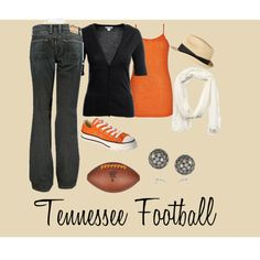 Tennessee Football Outfit, so cute! Ditch the black cardigan for a white one and I'm in. Go Vols!