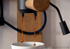 Product designer Arvid Häusser created a wall-mounted espresso machine made of porcelain. When assembled, all parts of the 'Seppl' are. Espresso Maker, Espresso Coffee, Coffee Love, Best Coffee, Coffee Break, Coffee Shop, Coffee Maker, Coffee Drinks, Coffee Cups