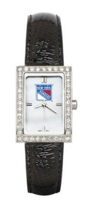 New York Rangers Ladies Allure Watch Black Leather Strap by Logo Art. $109.99. This women's fashion watch has a mother of pearl dial with team color logo and raised hour markers. Features polished chrome finish alloy case with cubic zirconium crystals and stainless steel back. Comes with padded leather strap. Contains Miyota quartz movement and comes packaged in a pillow black clamshell gift box. Limited lifetime warranty.