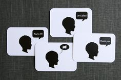 Personalized silhouette thank you notes for kids on Etsy