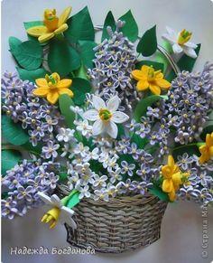 Корзина весенних цветов. | Страна Мастеров