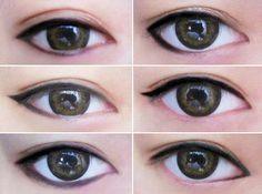 Change your eyeshape with eyeliner...very interesting