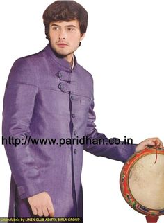 Modern touch linen suit made in purple color pure linen fabric. It has bottom as trouser made in same color fabric. Dryclean only.