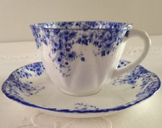 Shelley Dainty Blue Tea Cup & Saucer by NicerThanNewVintage