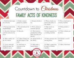 FREE PRINTABLE acts of kindness calendar. Counting down to Christmas, perfect to use with an Advent Calendar. FREE PRINTABLE acts of kindness calendar. Counting down to Christmas, perfect to use with an Advent Calendar. Diy Christmas Gifts For Family, 25 Days Of Christmas, Holiday Fun, Christmas Holidays, Christmas Ideas, Christmas Crafts, Christmas Carol, Christmas Planning, Holiday List