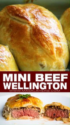 Individual Beef Wellington - Easy mini wellington meat parcels are an elegant holiday dinner main course meal. filet steak is wrapped into flakey golden baked puff pastry. Make these for your family a Individual Beef Wellington, Mini Beef Wellington, Wellington Food, Recipe For Beef Wellington, Chicken Wellington, Gordon Ramsay Beef Wellington, Pork Recipes, Cooking Recipes, Mexican Recipes