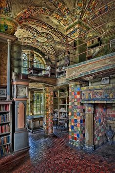 Fonthill Castle Library Room Photograph of the intricate architecture and extravagant colorful tile decorations at Fonthill Castle Library Room in Doysletown, PA. Byzantine Photograph - Fonthill Castle Library Room by Susan Candelario Abandoned Mansions, Abandoned Houses, Abandoned Places, Old Houses, Abandoned Library, Beautiful Architecture, Beautiful Buildings, Beautiful Places, Interior Architecture