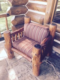 Will there be anything a lot more attractive than cozy household furniture by using an attractive deck? Whether it is a entrance deck that embraces site visitors or a back veranda that's private an… Rustic Log Furniture, Diy Garden Furniture, Porch Furniture, Furniture Decor, Furniture Design, Western Furniture, Log Chairs, Porch Chairs, Cabin Porches