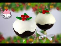 CHRISTMAS CAKE POPS!! Easy CHRISTMAS PUDDING Cakepops! A Cupcake Addiction How To Tutorial