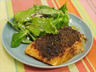 Brown Sugar Spiced Salmon  I substituted 1/2 tsp chipotle powder for the chili powder in this recipe. It was great!