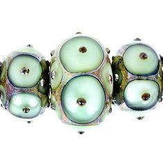 5 pieces Handmade Seafoam Green Lampwork Bead Set, Gold Foil, Rondelle Glass Beads, Ocean Beads
