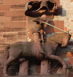 Saint George Statue at the Front of the Basel Münster (after 1356), Basel, Switzerland