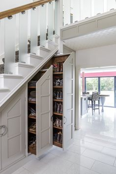 Under Stairs Cupboard Storage, Under Stairs Drawers, Under Stairs Pantry, Stairway Storage, Space Under Stairs, Hallway Storage, Understairs Cupboard Ideas, Under The Stairs, Boot Room Storage