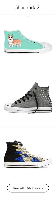 """""""Shoe rack 2:"""" by anelia-kovacich ❤ liked on Polyvore featuring sneakers, shoes, converse, converse shoes, studded sneakers, black studded shoes, black trainers, converse trainers, black and black shoes"""