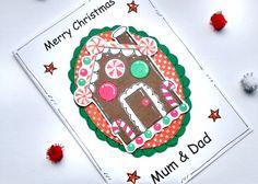 Christmas Card  Gingerbread House  by CraftyMushroomCards on Etsy