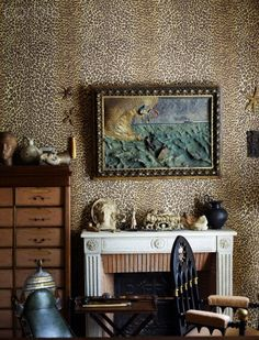 leopard walls in French home of Cocteau