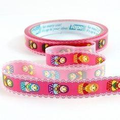 Pink Lace Matryoshka Decorative Tape