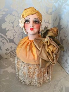 A exceptional boudoir doll powder box marked  made in