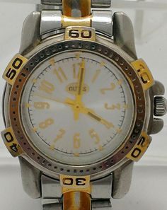 Guess 1996 Ladies Two Tone Stainless Steel Vintage Watch Water Resistant $16.38  #GUESSWatches #Watches #VintageWatches #Casual